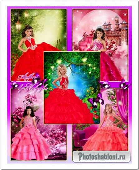 Детские шаблоны для фотомонтажа - Девочки в бальных платьях, принцессы в красном