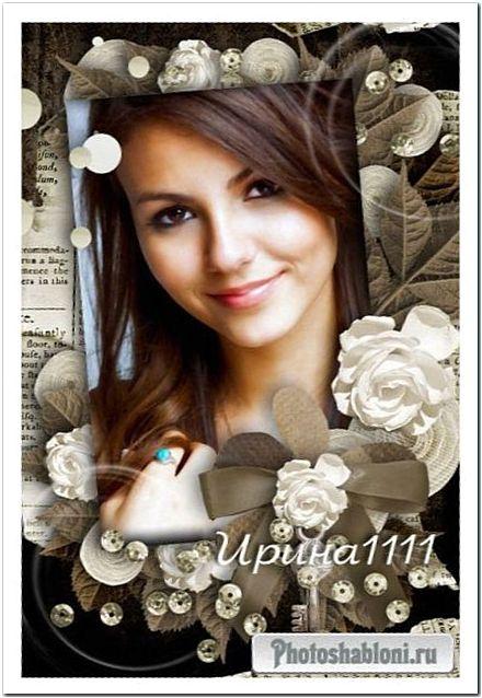 Рамка для фотошоп - Винтажные розы из шелка
