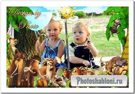 Детская рамка с героями м/ф Ледниковый период