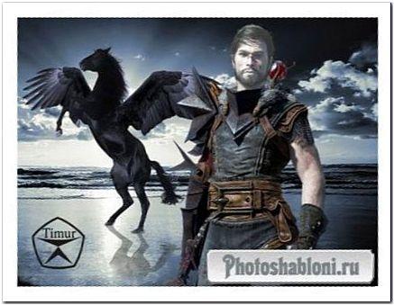 Мужской шаблон для фотомонтажа - Воин и черный пегас