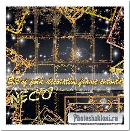 Набор золотых прямоугольных декоративных рамок вырезов