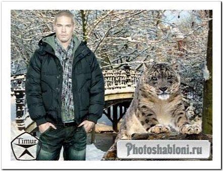 Мужской шаблон - Мужчина и леопард на фоне зимнего пейзажа