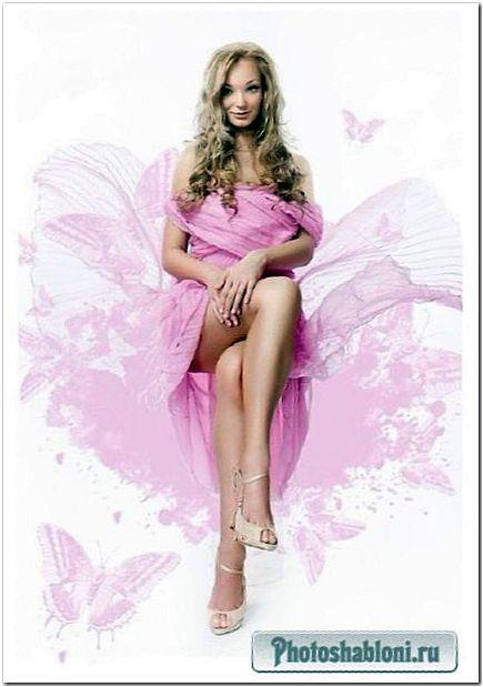 Женский шаблон для photoshop - Мои розовые мечты
