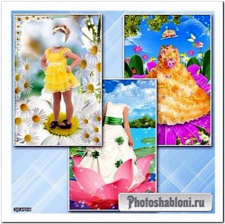 Детские шаблоны для фотошопа - Девочки в цветках