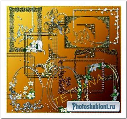 Вырезы и элементы декора для рамок в серебряном и золотом стиле с цветами и жемчугом