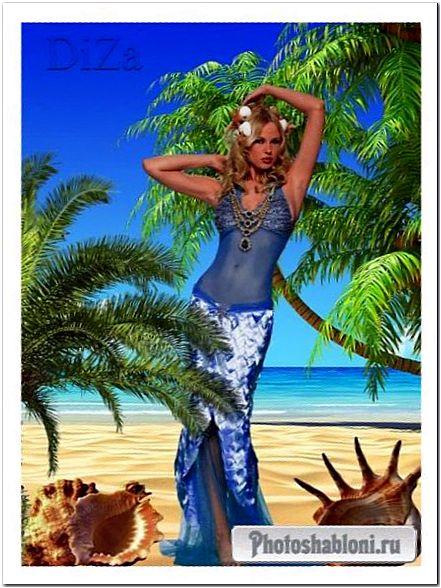 Женский фотошаблон на фоне моря - В образе русалки