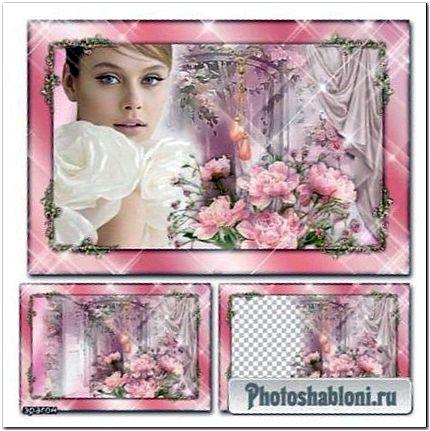 Цветочная рамка для фото - Любимые цветы, пионы