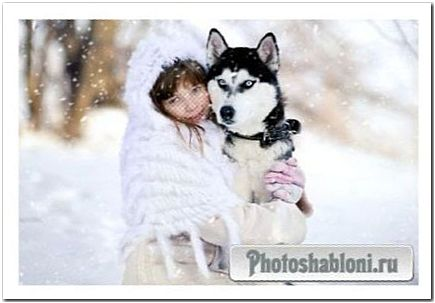 Шаблон для photoshop - Девочка с волком