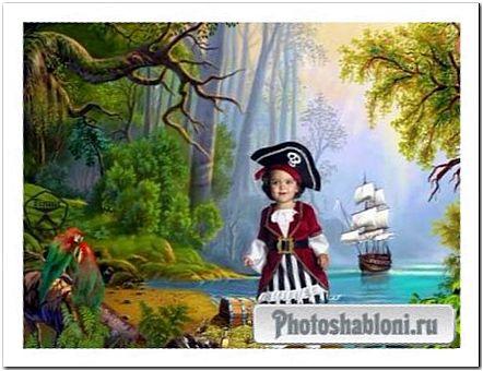 Детский шаблон для фотомонтажа - Пиратский остров, девочка пиратка