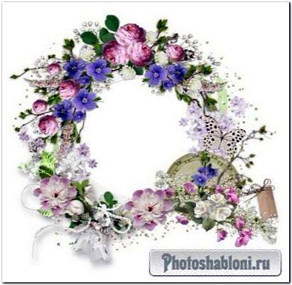 Рамки кластеры с цветами для скрапбукинга