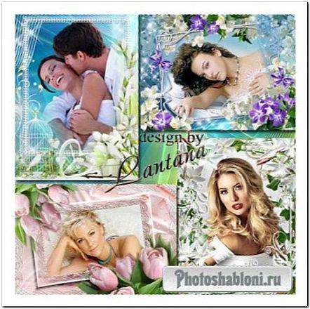 Весенние рамки для оформления фото - Первые цветы весны, жасмин, тюльпан, подснежник