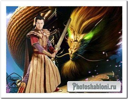 Мужской шаблон для фотошопа - Битва драконов