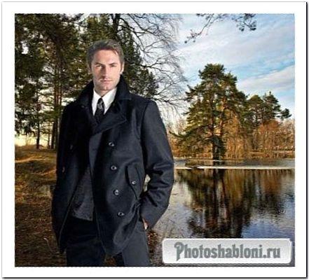 Мужской шаблон для фотомонтажа - Весна, мужчина на фоне пейзажа