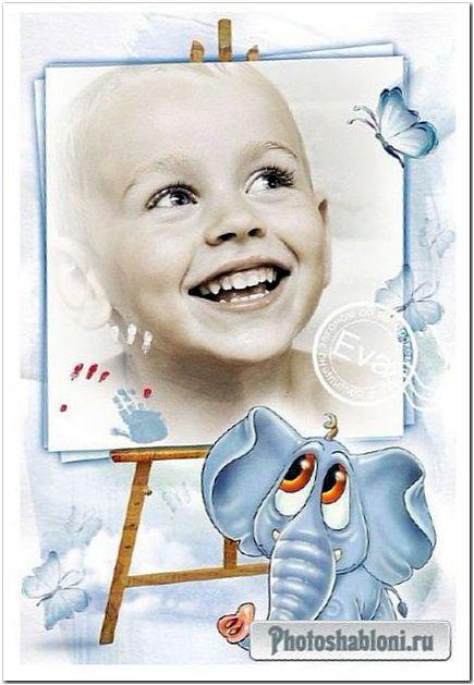 Детская фоторамка - Голубой слон и портрет ребенка