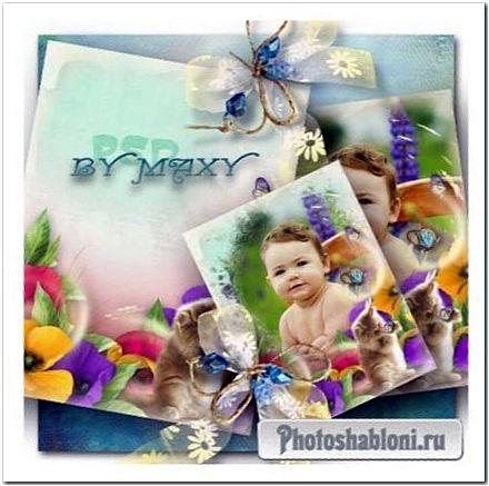 Детская цветочная фоторамка - Котенок и бабочка