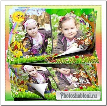 Детская рамка для фото - Герои Простоквашино, Шарик, Матроскин и корова, Печкин