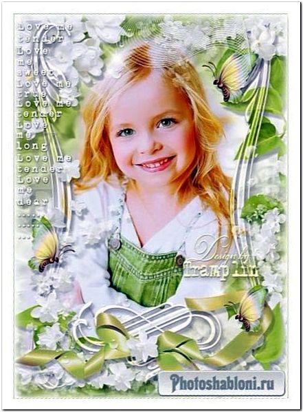 Весенняя рамка для украшения фотографий - Белая сирень, салатовый бант и красивые бабочки