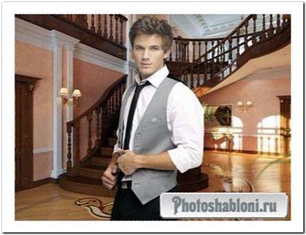 Мужской шаблон для фтомонтажа - Красивый парень на фоне интерьера