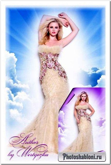 Женские шаблоны для фотомонтажа - Блондинка в пастельном платье с розами