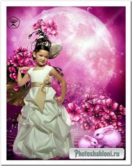 Детский шаблон для фотошопа - Луна, девочка в нарядном белом платье и кролики