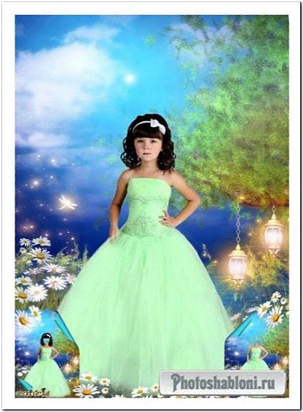 Многослойный детский psd шаблон - Девочка в нежно-салатовом платье среди чудесных ромашек