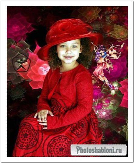 Детский шаблон для фотомонтажа - Девочка в красном платье и шляпе