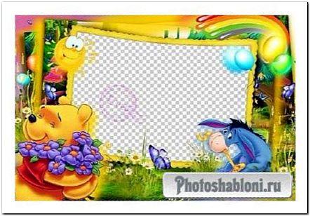 Детская рамка для фотошопа - Винни-Пух и лето