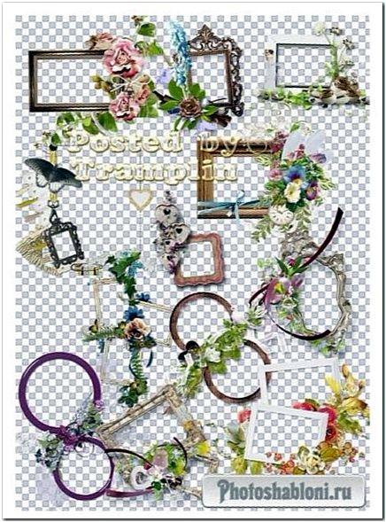 Винтажные рамки вырезы с часами, цветочным декором и бабочками