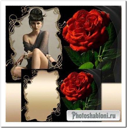 Гламурная рамка для фото - Роза красная моя