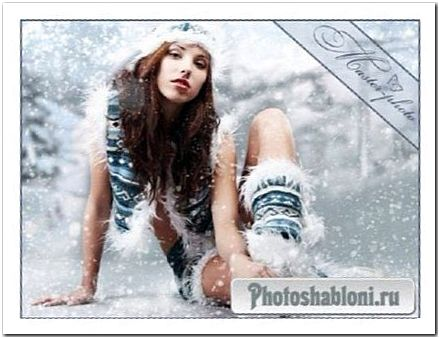 Новогодний женский шаблон для фотошопа - Танец снежинок
