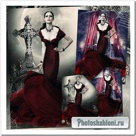 Готический женский фотошаблон - Королева вампиров
