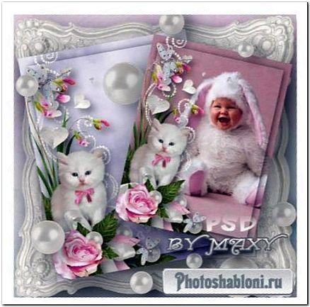 Рамка для детского фото - Белый котенок с розовым бантом