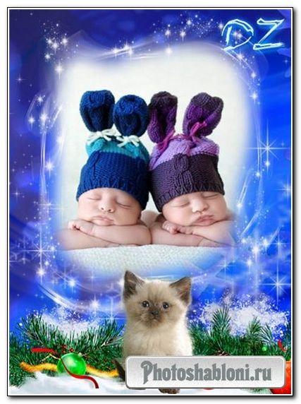 Зимняя рамочка с котенком