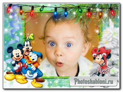 Детская рамочка для фотошоп - Микки Маус и друзья