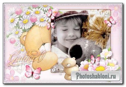 Детская рамка для фото - Мишки с цветами