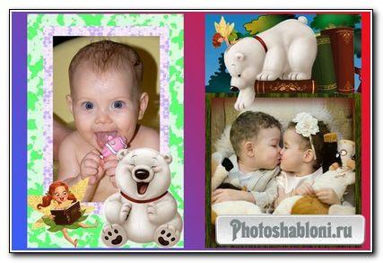 Детская фоторамочка с медвежонком