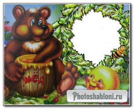 Рамка для PhotoShop «Колобок и медедь»