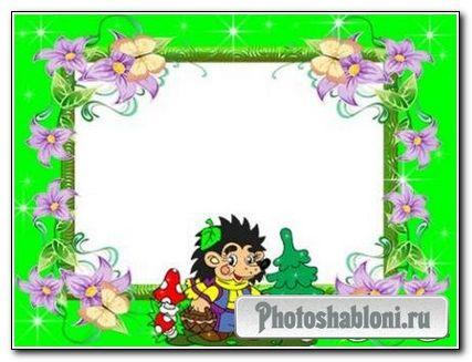 Рамочка для фотошопа - Весёлый Ёжик