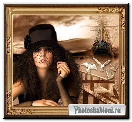 Фоторамка - Девушка у пристани