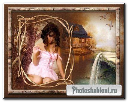 Рамка для фото - Девушка у ручья