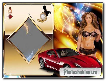 Мужская фоторамка - девушка и Ferrari