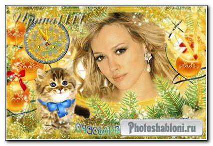 Новогодняя рамка для Photoshop - Котенок