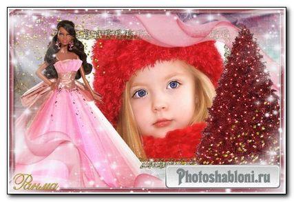 Новгодняя рамка с Барби для детишек