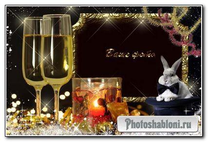 Рамка для фотошоп – Кролик в черной шляпе