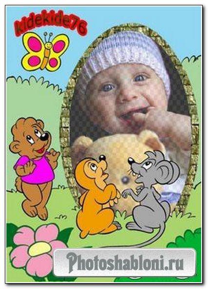 Рамка для фотошопа - Пасхальная рамка для детей
