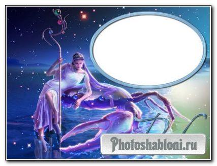 Рамка для фотошоп - Знак зодиака-Рак.