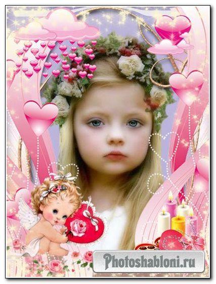 Романтическая рамочка для фото -Влюбленный ангелочек