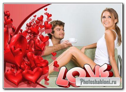 """Две романтические рамочки с сердечками """"Love"""""""
