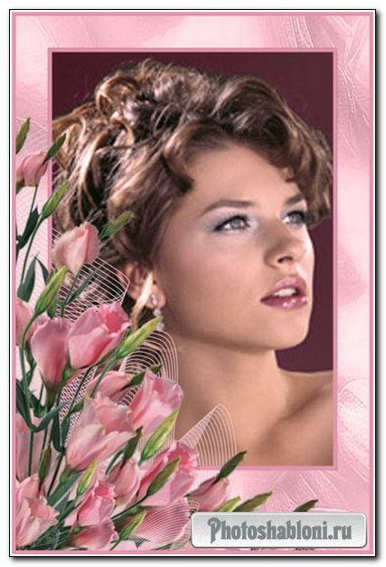Floral frame for Photoshop – Pink flowers