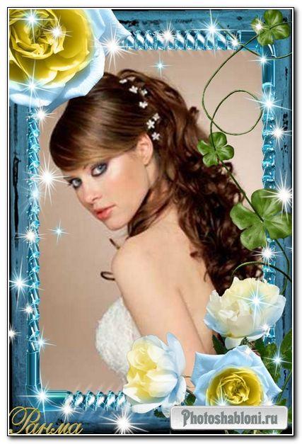 Рамка для фотошоп-Синие розы